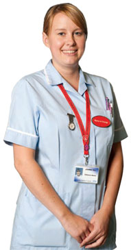 Leicester's Hospitals Nurse standing forward