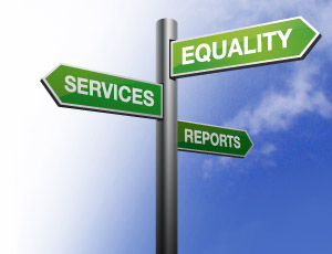 A signpost with the options equlity, services and reports