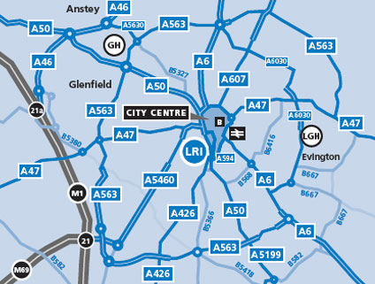 Leicester City Uk Map.Travelling To The Leicester Royal Infirmary