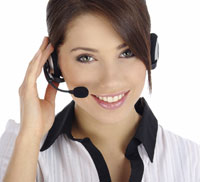 Woman taking phone call on headset