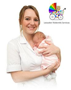 Midwife and baby with Maternity logo