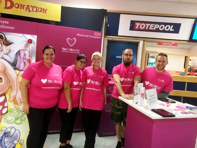 Organ Donation Week 2018 - Stall at Leicester Racecourse, 04/09/18