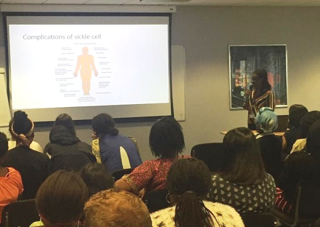 Rebecca Sekyere, Lead Nurse Specialist of the Sickle Cell and Thalassaemia Service at Leicester's Hospitals giving a talk about the complications of Sickle cell Disease